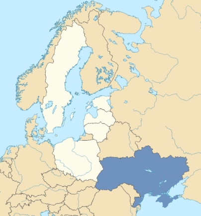 Map of the EU's Baltic Bloc and Ukraine