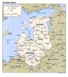 Map of the three Baltic states of Lithuania, Latvia, and Estonia.