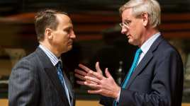 Polish Foreign Minister Radosław Sikorski (left) and Swedish Foreign Minister Carl Bildt (right). (AP)