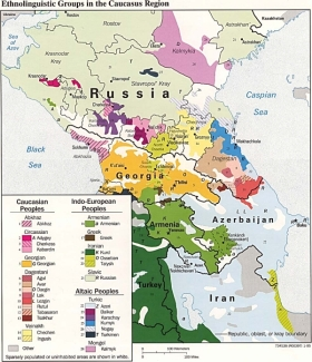 Ethnolinguistic map of the Caucasus