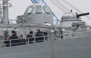"Ukrainian Navy servicemen onboard the ship ""Slavutych"" (from ITAR-TASS)."