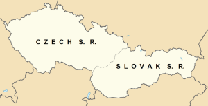 Map of Czechoslovakia in 1980, showing the Czech Socialist Republic and the Slovak Socialist Republic.