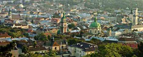Skyline of Lviv, Galicia, Western Ukraine.  Note the Central European architectural style.