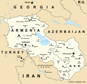 Map of Armenia and the self-proclaimed Nagorny Karabakh Republic (NKR) in the Caucasus