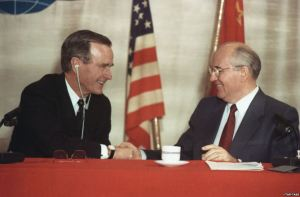 "George H.W. Bush and Mikhail Gorbachev in Malta in December 1989 (ITAR-TASS).  The Bush administration informally promised Gorbachev that NATO would not expand ""one inch"" beyond East Germany.  The promise was never fulfilled.  To defuse the ongoing Ukraine crisis, a formal, written promise not to expand NATO by Washington to Moscow would do much to build mutual trust and confidence between both countries."