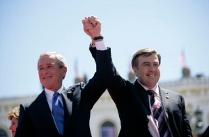 US President George W. Bush with Georgia's Mikheil Saakashvili