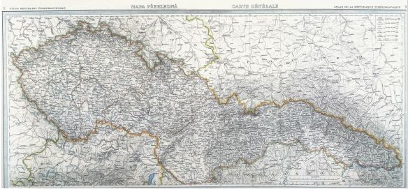 Map of interwar Czechoslovakia in 1935 with