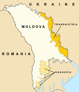 Map of Moldova, Transnistria, and Gagauzia