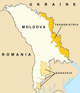 Map of Moldova, Transnistria, and Gagauzia
