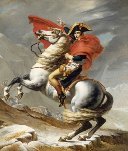 Bonaparte Crossing the Grand Saint-Bernard Pass by Jacques-Louis David, 1800.  The historical memory of the Western invasions of Russia (including the Napoleonic invasion of 1812) still affects Russian perceptions of the West today.