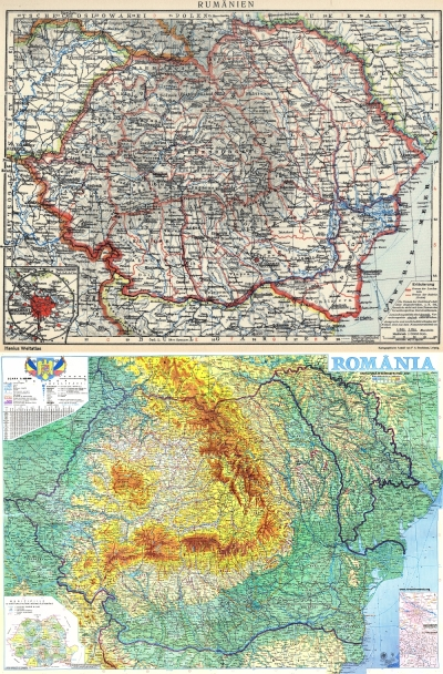 "Maps of Romania and Moldova. The top map from 1926 shows ""Greater Romania"" including Moldova within its borders. The bottom map from 2001 shows the present-day boundaries of Romania and Moldova."