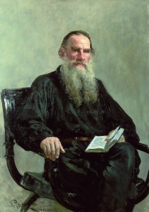Russian author Leo Tolstoy in a portrait by Ilya Repin, 1887.