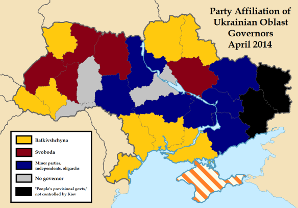 Party Affiliation of Ukrainian Oblast Governors, April 2014
