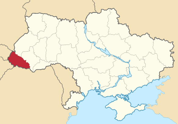 Location of the Zakarpattia Oblast within Ukraine.