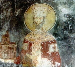 Mural of Bagrat II of Abkhazia from the Gelati Monastery in Imereti, Georgia