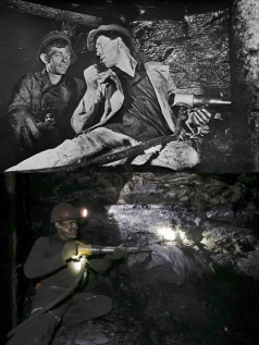 Two images of the Donbas.  The top shows Alexei Stakhanov with a fellow miner in 1935 (Library of Congress).  The bottom shows a Donbas miner in 2014 (Reuters / Maxim Zmeyev)