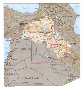 CIA map of Kurdish-inhabited regions from 1992, courtesy of the Perry-Castañeda Library Map Collection at The University of Texas at Austin