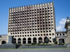 The Council of Ministers Building of Abkhazia, still damaged from the 1992-93 Abkhaz-Georgian war (RFE/RL)