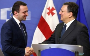 Georgian Prime Minister Irakli Garibashvili (left) and EU's José Barroso (right)
