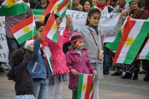 Kurdish Children at a Kurdish Demonstration in Moscow (PUK Media)
