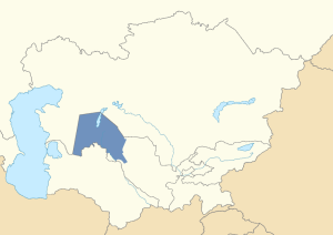 Location of the Karakalpakstan within Uzbekistan in post-Soviet Central Asia