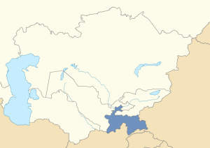 Location of Tajikistan in post-Soviet Central Asia