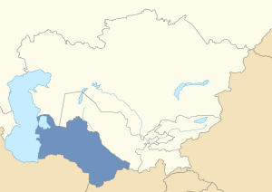 Location of Turkmenistan in post-Soviet Central Asia