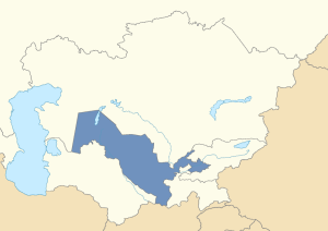 Location of Uzbekistan in post-Soviet Central Asia