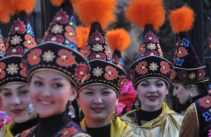 Kyrgyz women in traditional costume (AFP)