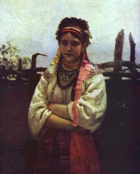 Ukrainian Girl by a Fence, Ilya Repin, 1876
