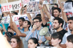 Yazidi demonstration in Tbilisi against ISIL's atrocities against the Yazidis in Iraq. (Georgian Union of Kurdish Youth)