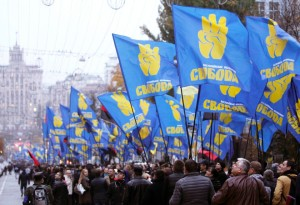 Ukraine's far-right Svoboda Party marches in Kiev.  The party did not receive enough votes to retain its position in parliament.