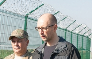 Prime Minister Yatsenyuk inspects his wall project on the Russian border (Getty)