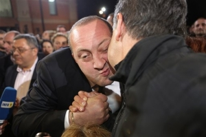 Giorgi Margvelashvili is congratulated by a supporter after his election as Georgia's president. (AP)