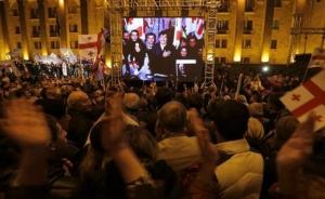 Saakashvili Addresses Supporters at the UNM Rally in Tbilisi (Reuters / David Mdzinarishvili)