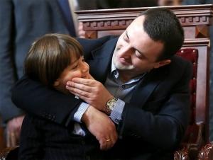 Prime Minister Irakli Garibashvili and son (Press office photo)