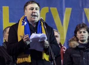 Mikheil Saakashvili on the Maidan, Kiev (AFP Photo/Dmitry Serebryakov)