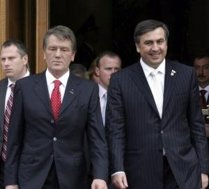 Former Ukrainian President Viktor Yuschenko and former Georgian President Mikheil Saakashvili (UPI Photo/Sergey Starostenko)