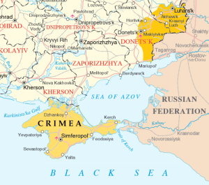 Map of the Donbas and Crimea (based on a 2015 UN Map of Ukraine)